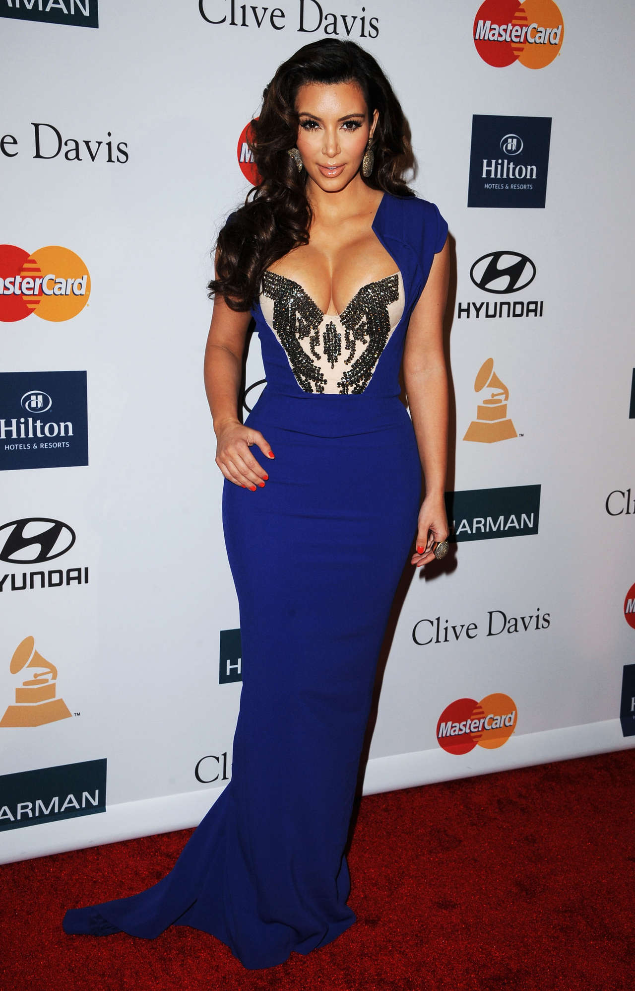 Kim Kardashian in Blue Dress