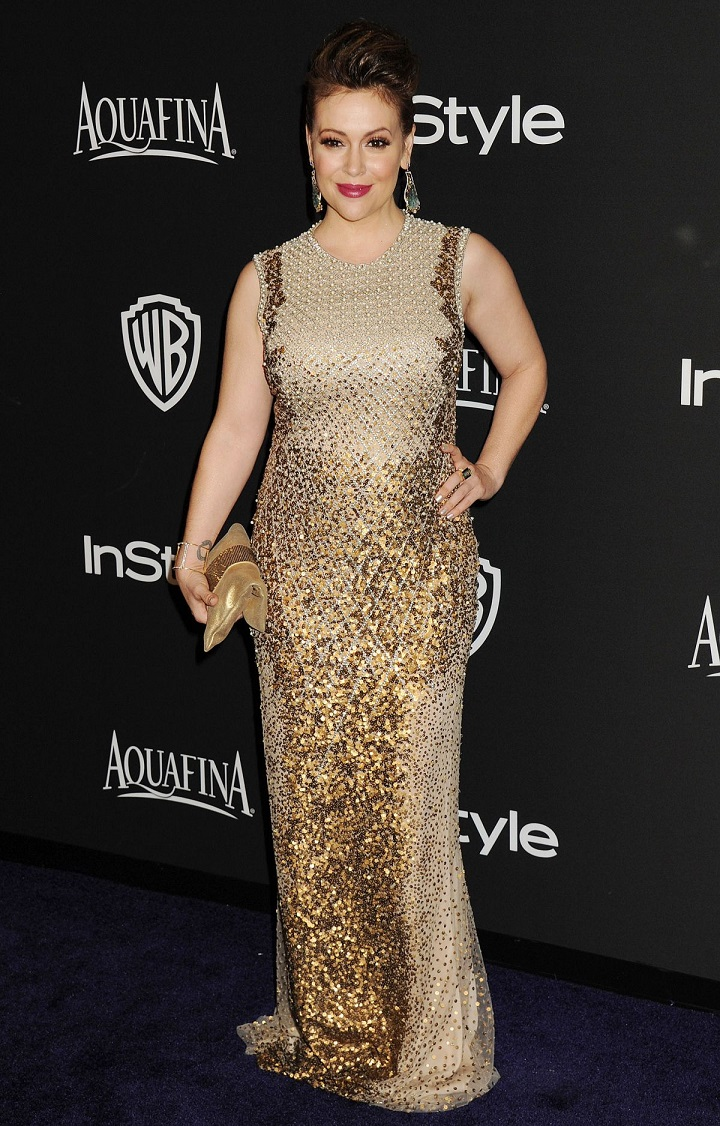 Alyssa Milano at Golden Globes party