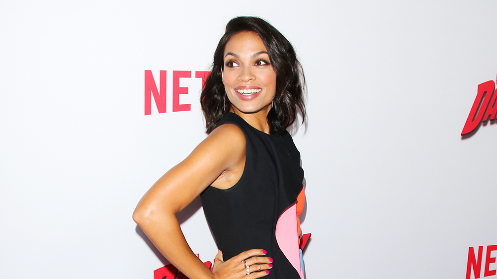 "LOS ANGELES, CA - APRIL 02:  Actress Rosario Dawson attends the premiere of ""Marvel's Daredevil"" at Regal Cinemas L.A. Live on April 2, 2015 in Los Angeles, California.  (Photo by Paul Archuleta/FilmMagic)"