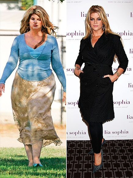 Before and after of Kirstie Alley Weight loss