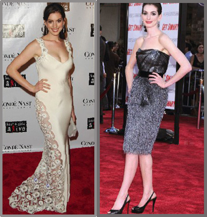 Before and After Anne Hathaway. Weight loss