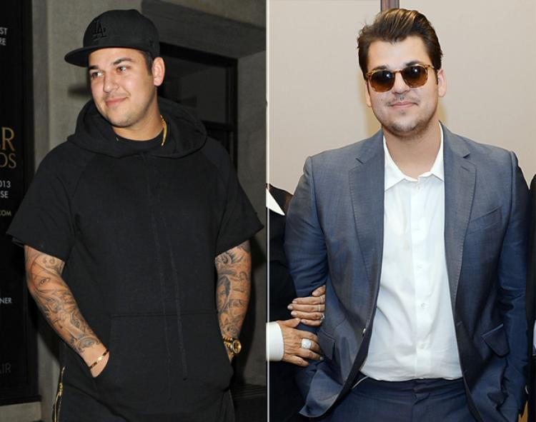 Rob Kardashian before (left) and after (right) his recent weight loss.